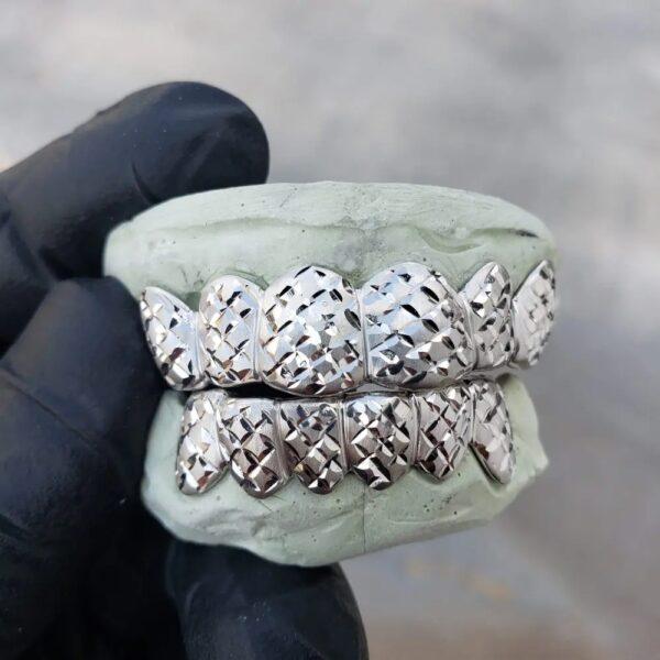 White gold satin diamond cut grillz - GotGrillz
