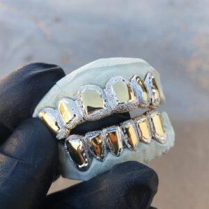 Yellow and White Gold Frame Diamond Dust Grillz - GotGrillz