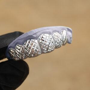 White Gold Satin Finish with Polished Diamond Cut Grillz - GotGrillz