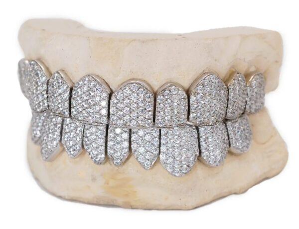 White Gold Handset Diamond Honeycomb Zig Zag Grillz - GotGrillz