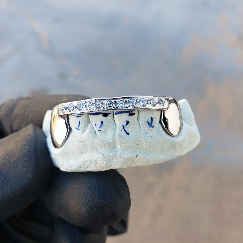White Gold Solid K9 Top Diamond Bar Bottom Grillz - GotGrillz