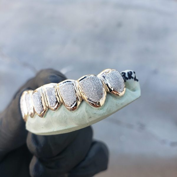 Yellow and White Gold Diamond Dust Punchout Grillz - GotGrillz