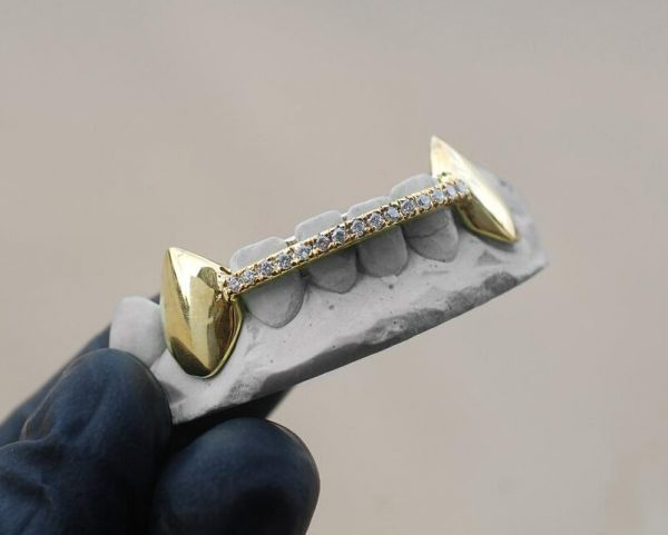 Yellow Gold Diamond Bar with K9 Fang Grillz - GotGrillz
