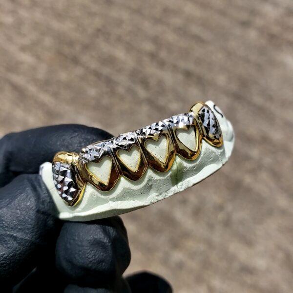 Yellow and White Gold Heart Open Face Diamond Cut Grillz - GotGrillz