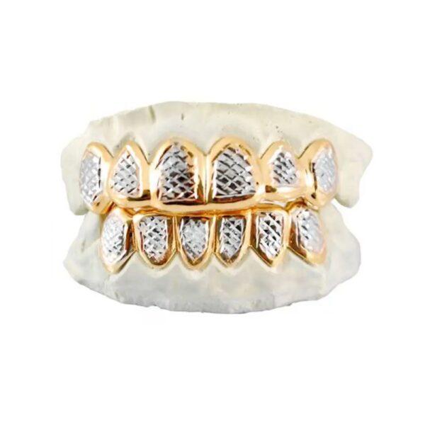 Yellow and White Gold Retro Diamond Cut Grillz - GotGrillz