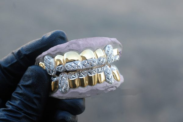 Yellow and White Gold Tipped Diamond Dust Cuts Grillz - GotGrillz