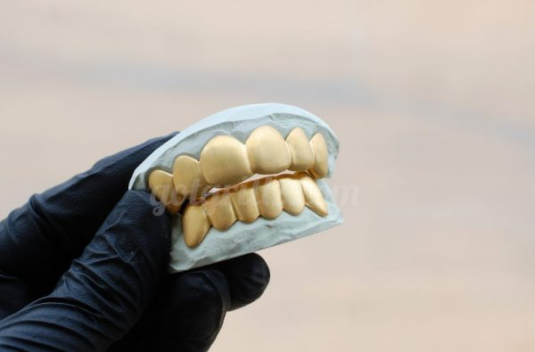 Yellow Gold Solid Satin Brushed Grillz - GotGrillz