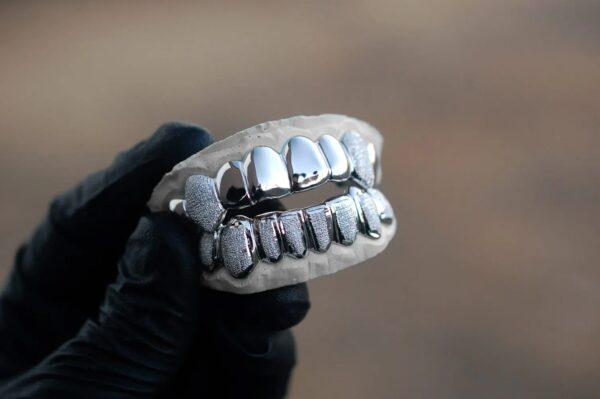 White Gold Diamond Dust K9 and Punchout Bottom Grillz - GotGrillz