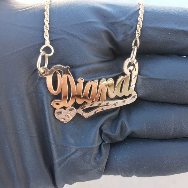 Gold left heart name plate with chain - GotGrillz