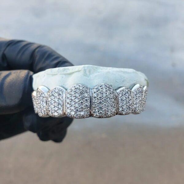 White Gold Diamond Honeycomb Zig Zag Grillz 2 - GotGrillz