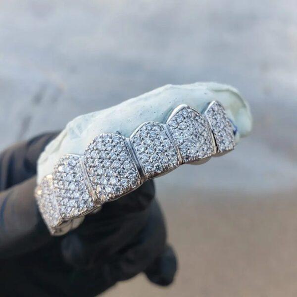 White Gold Diamond Honeycomb Zig Zag Grillz 3 - GotGrillz