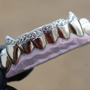 Yellow and White Gold K9 Fangs Tipped Diamond Dust Cuts Grillz - GotGrillz