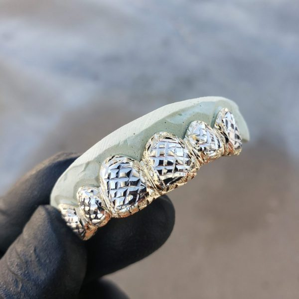 Yellow and White Gold Diamond Cut and Dust Cut Trim Grillz 1 - GotGrillz