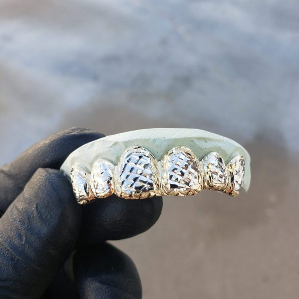 Yellow and White Gold Diamond Cut and Dust Cut Trim Grillz 2 - GotGrillz