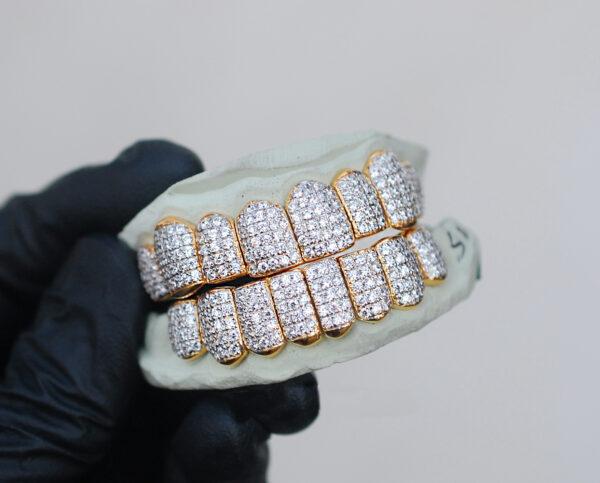 Yellow Gold Handset Vertical Diamond Grillz - GotGrillz