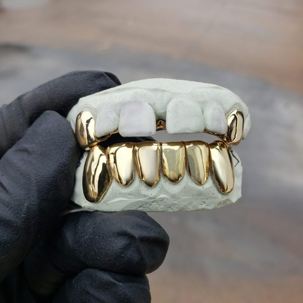 Yellow Gold Solid Polished K9 and Bottom Solid Grillz - GotGrillz