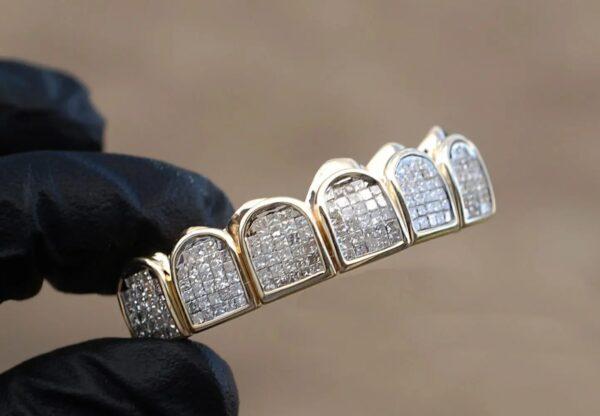 Yellow Gold Invisible Set Diamond Blocks Grillz - GotGrillz