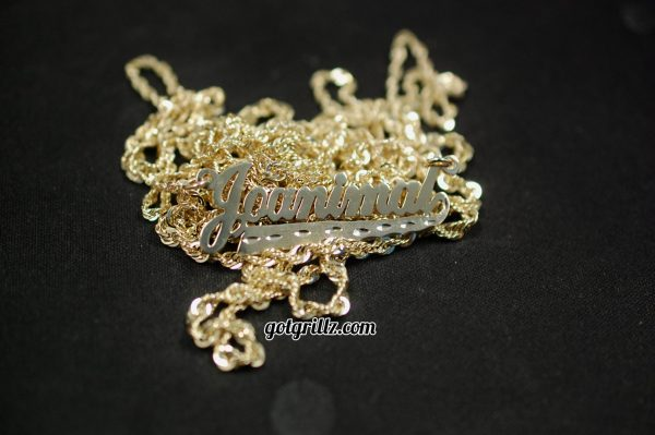 Yellow Gold Custom Personalized Diamond Cut Cursive Nameplate Pendant with Rope Chain - GotGrillz