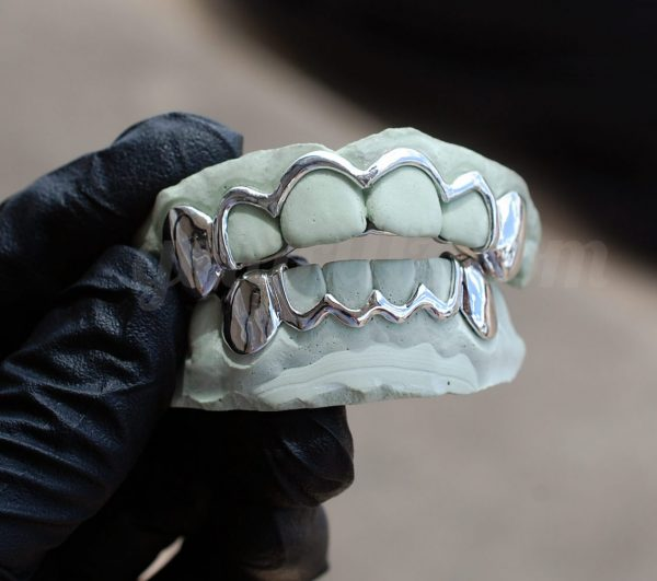 White Gold Solid Open Outline Style and Solid K9 Grillz - GotGrillz