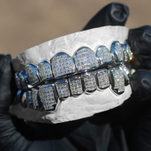 White Gold Invisible Set Princess Cut Diamond Grillz