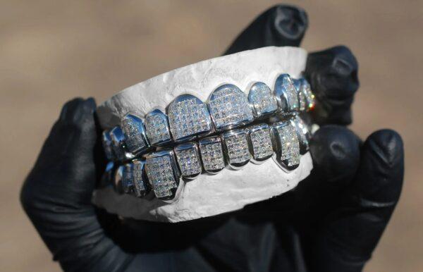 White Gold Invisible Set Princess Cut Diamond Grillz