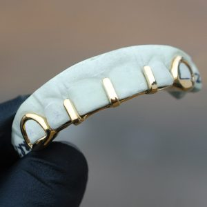 Yellow Gold Multi Gap Bar with Open Face K9 Grillz